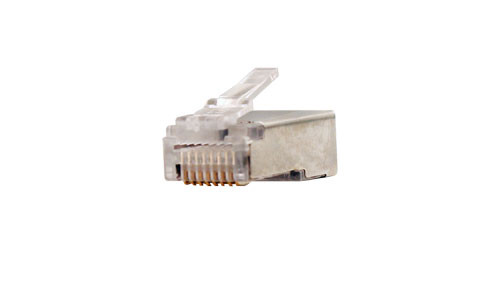 CAT5E Shielded Feed Thru Style Modular Plug For Solid or Stranded Cable - 100 Count