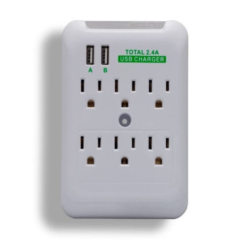 6 Outlet Wall Tap Power Surge Protector With 2 USB Ports