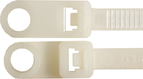 "Nylon Cable Ties, 8"" Mounting style, 50LBS, Natural, 100 Pack"