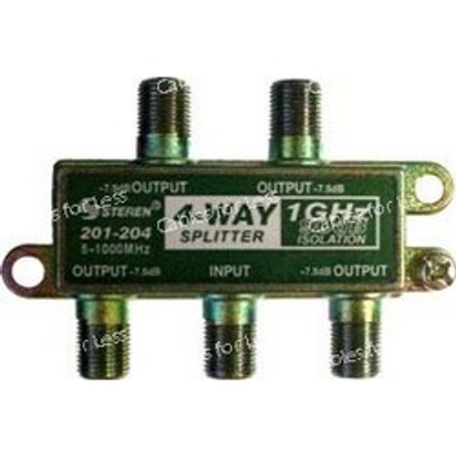 CLOSEOUT - Cable CaTV F-Type 1Ghz 90Db 4-Way Splitter
