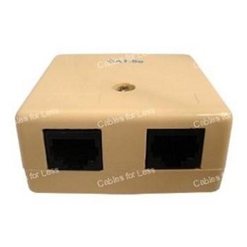 CLOSEOUT - Surface Mount Box, Cat5 RJ45, Dual, Beige