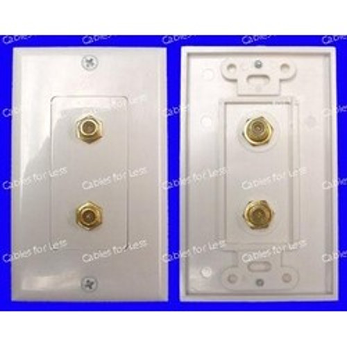CLOSEOUT - Decorator Double F-Type Jack Wall Plate, Female To Female