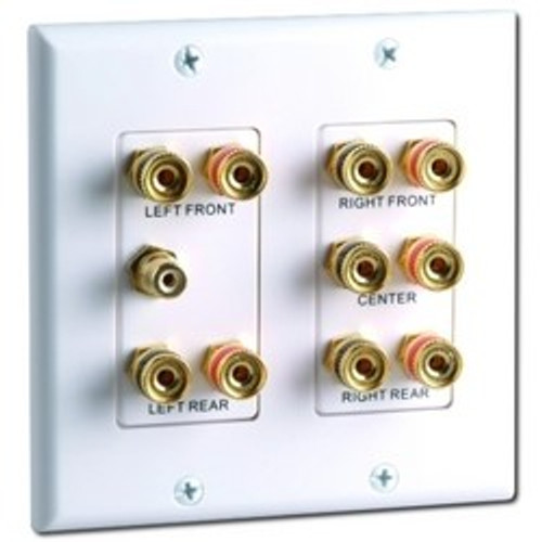CLOSEOUT - DataComm 5.1 Surround Sound 2-Gang Wall Plate White