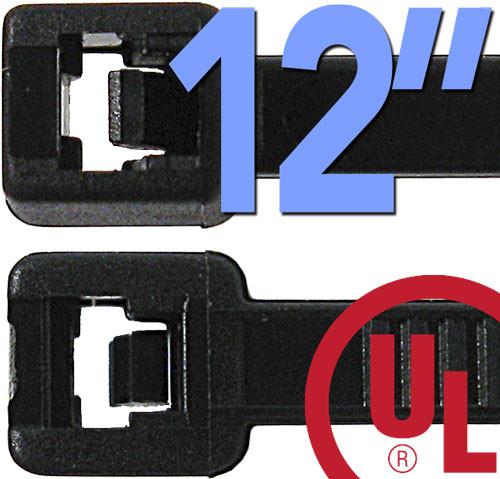 12 Inch Nylon Ties - 100 Black Pack