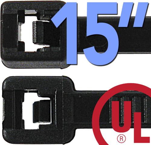 15 Inch Nylon Ties - 100 Black Pack