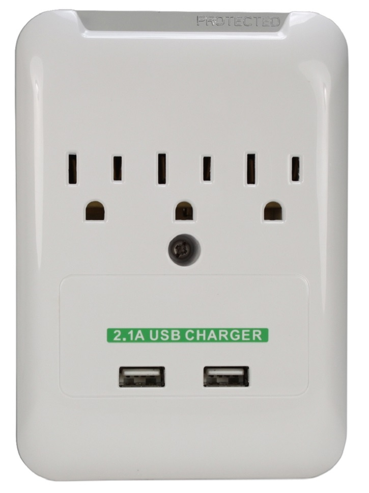 3 Outlet Wall Tap Power Surge Protector With 2 USB Ports