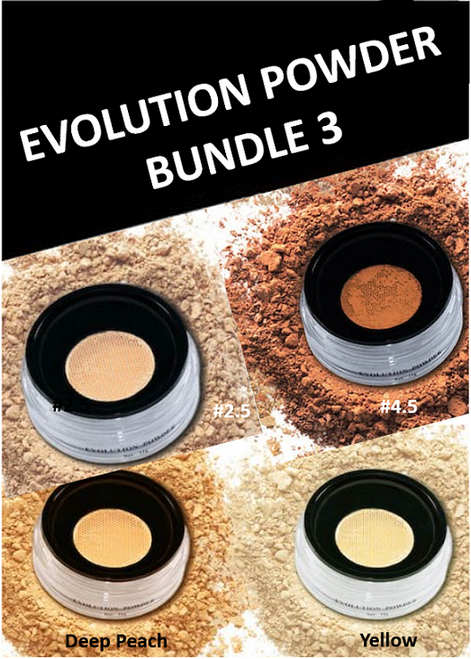 Evolution Powder Bundle 3: #2.5, #4.5, Deep Peach, Yellow