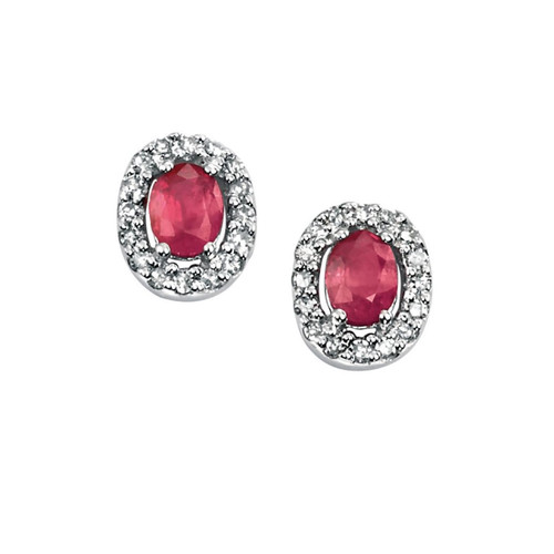 9ct White Gold Ruby and Diamond Oval Halo Earrings