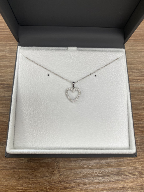 18ct White Gold 0.25ct Diamond Heart Pendant