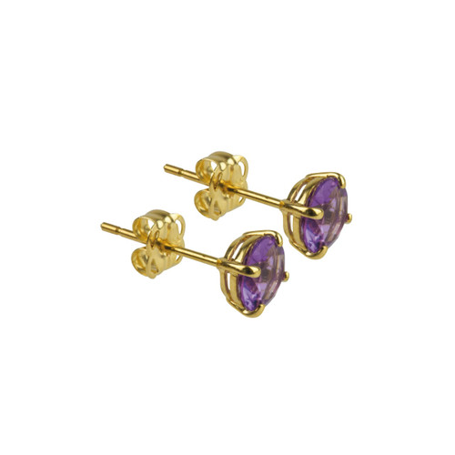 9ct Yellow Gold Amethyst Stud Earring