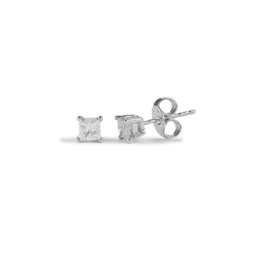 9ct White Gold Four Claw Princess Diamond Stud Earrings