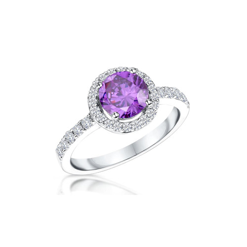 Sterling Silver Round Amethyst Cubic Zirconia Halo Ring