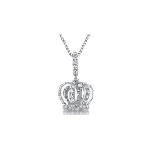 Sterling Silver Cubic Zirconia Crown Necklace