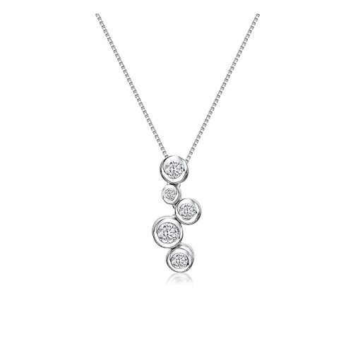 Sterling Silver Rubover 5 Cubic Zirconia Drop Necklace