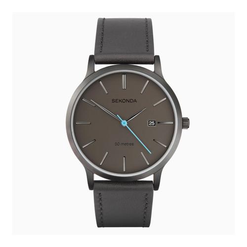 Sekonda Mens Grey Leather Strap Watch 1844