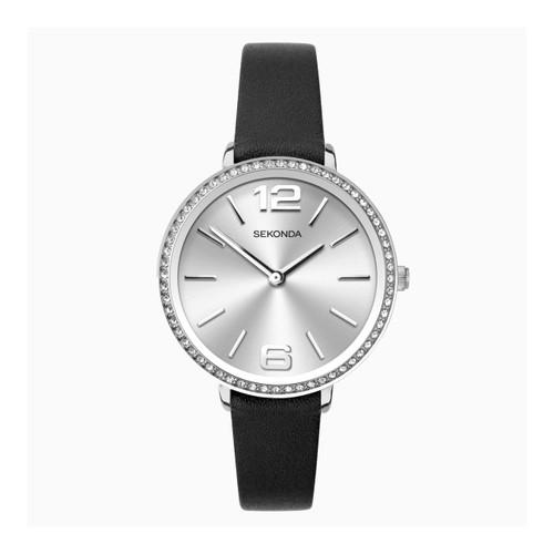 Sekonda Ladies Black Leather Strap Watch 40075