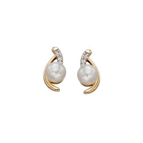 9ct Yellow Gold Cream Pearl and Diamond Stud Earrings