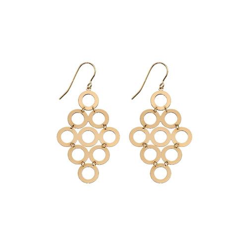9ct Yellow Gold Multi Circle Drop Earrings