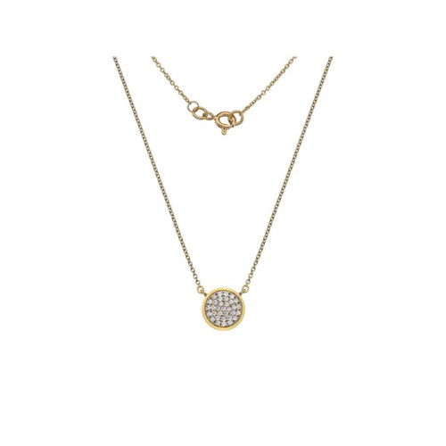 9ct Yellow Gold Cubic Zirconia Solid Circle Necklace