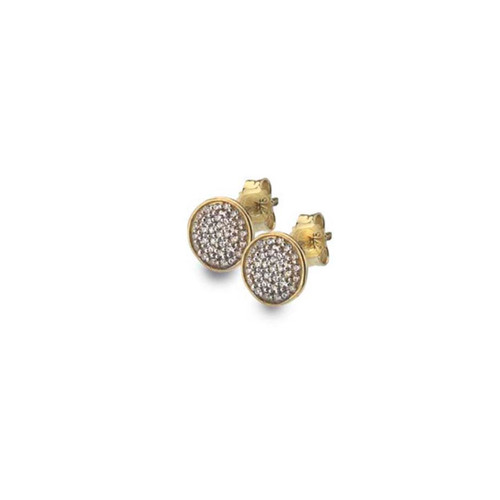 9ct Yellow Gold Cubic Zirconia Solid Circle Stud Earrings
