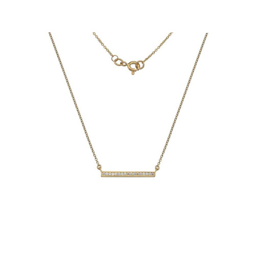 9ct Yellow Gold Cubic Zirconia Bar Necklace