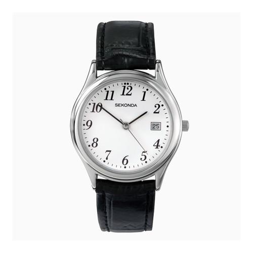 Sekonda Gents Classic Black Leather Strap Watch 3473