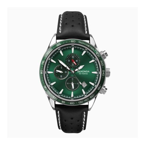 Sekonda Gents Green Dial Leather Strap Watch 1862