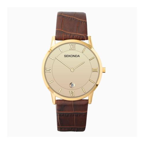 Sekonda Gents Brown Leather Strap Watch 1041