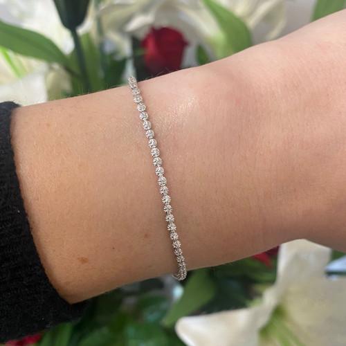 9ct White Gold 0.25ct Brilliant Cut Diamond Tennis Bracelet