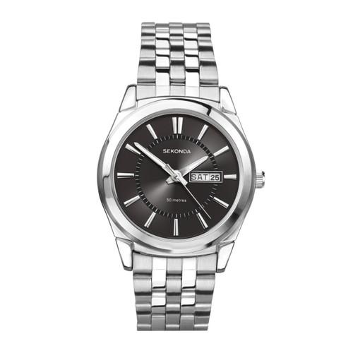 Sekonda Mens Black Dial And Stainless Steel Bracelet Watch 3479