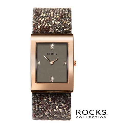 Sekonda Ladies Seksy Rocks Rose Gold Plated Bracelet Watch 2580