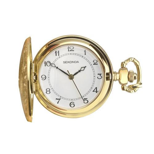 Sekonda Mens Gold Plated Pocket Watch 3799