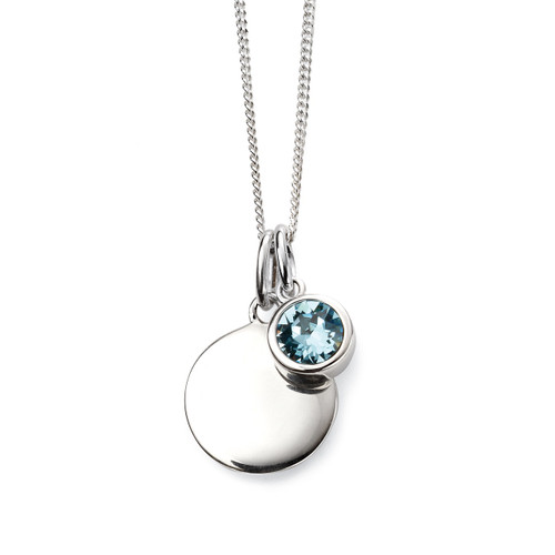 Sterling Silver March Birthstone and Engravable Pendant