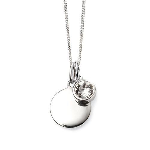 Sterling Silver April Birthstone and Engravable Pendant
