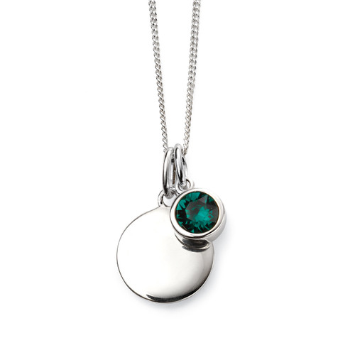 Sterling Silver May Birthstone and Engravable Pendant