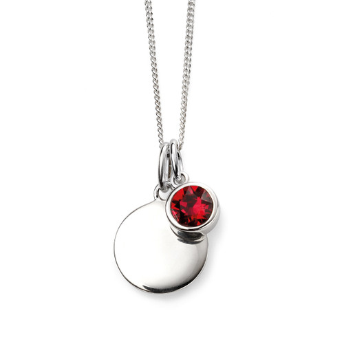 Sterling Silver July Birthstone and Engravable Pendant
