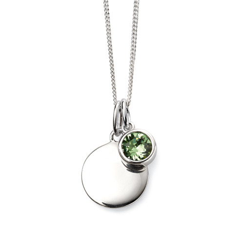 Sterling Silver August Birthstone and Engravable Pendant