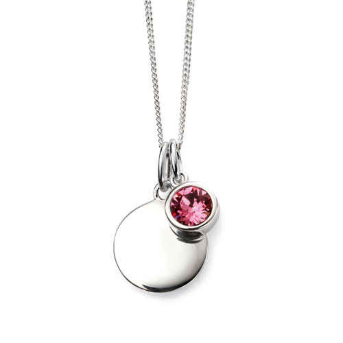 Sterling Silver October Birthstone and Engravable Pendant