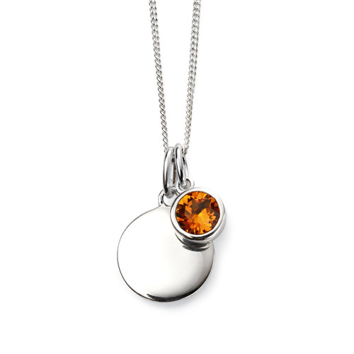 Sterling Silver November Birthstone and Engravable Pendant