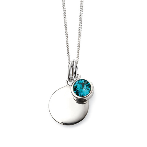 Sterling Silver December Birthstone and Engravable Pendant