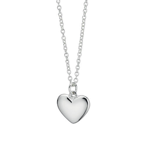 Sterling Silver Small Puffed Solid Heart Pendant