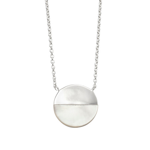 Mother of Pearl and Silver Disc Necklace