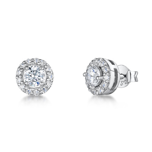 Sterling Silver Round Cubic Zirconia Halo Earrings