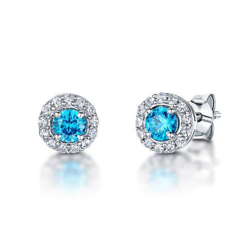 Sterling Silver Round Ocean Blue Cubic Zirconia Halo Earrings