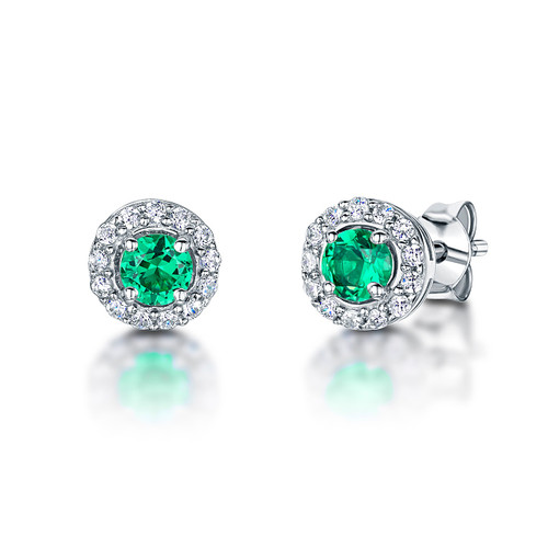 Sterling Silver Round Emerald Green Cubic Zirconia Halo Earrings