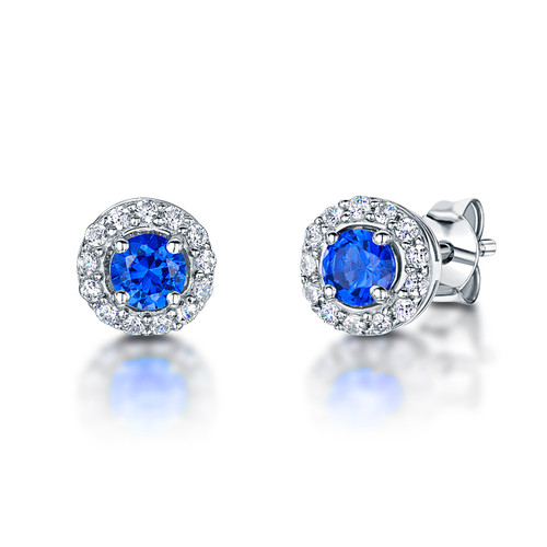 Sterling Silver Round Sapphire Blue Cubic Zirconia Halo Earrings