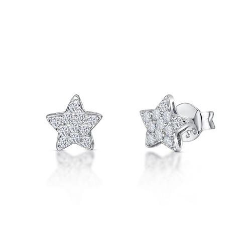 Sterling Silver Cubic Zirconia Star Earrings