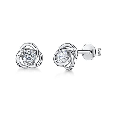 Sterling Silver Cubic Zirconia Knot Earrings