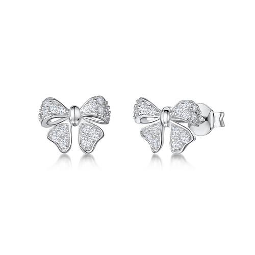 Sterling Silver Cubic Zirconia Bow Earrings