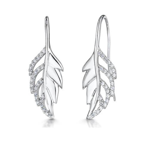 Sterling Silver Leaf Cubic Zirconia Drop Earrings